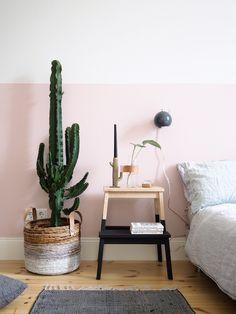 mur ligne peinture rose