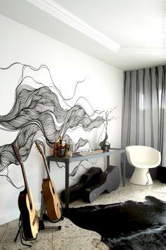 mur avec dessin creatif noir et blanc