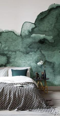 papier peint aquarelle vert foret