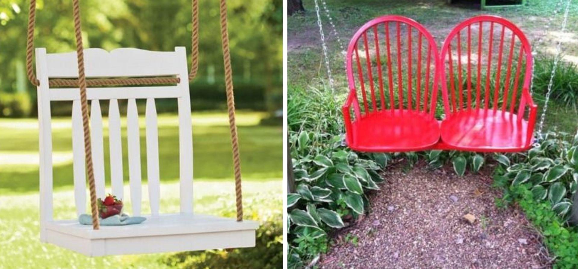 vieille chaise transformation balancoire