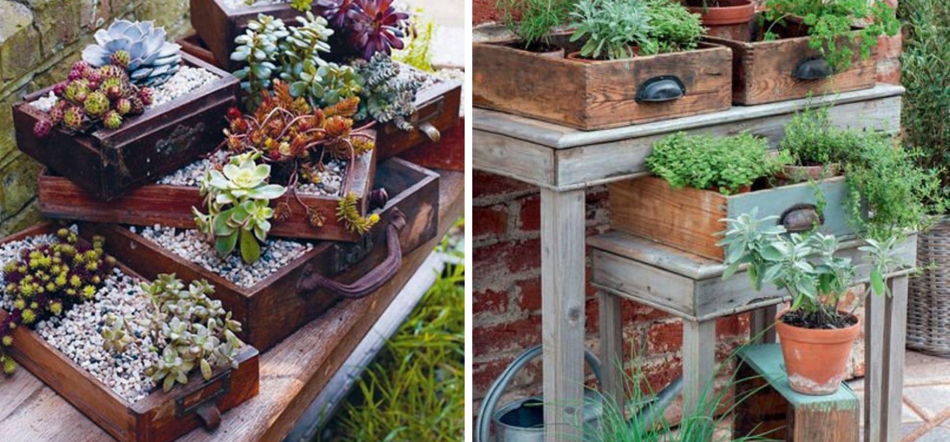 valises et tirroir vintage jardin